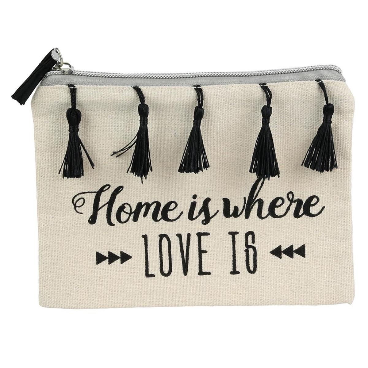 Pochette plate \'Boho\' beige noir (Home is where love is) - 19x135 cm - [Q3931]