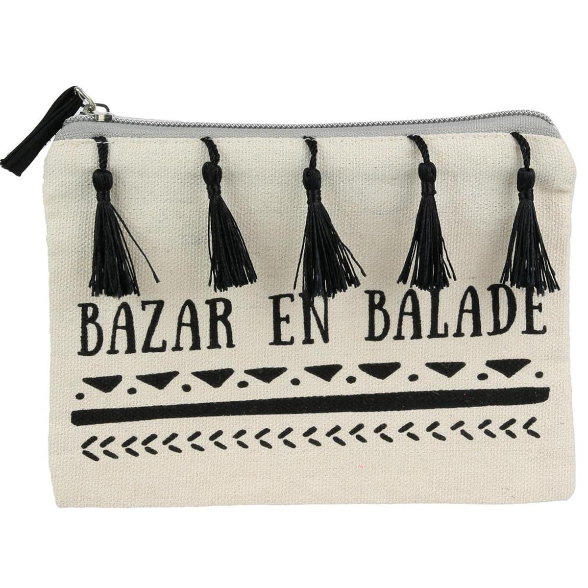 Pochette plate \'Boho\' beige noir (Bazar en balade) - 19x135 cm - [Q3932]