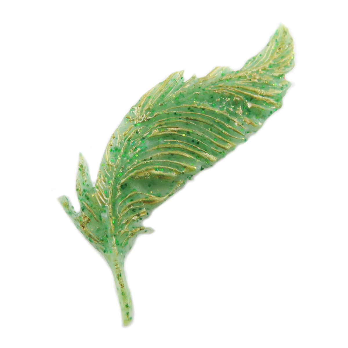 Broche artisanale \'Plume Inspiration\' vert - 60x18 mm - [R1303]