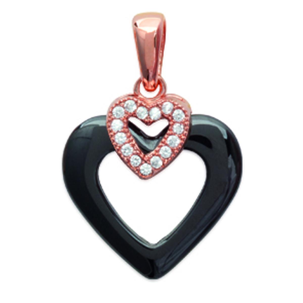 Pendentif Plaqué Or \'Love\' noir (céramique) rose gold - 20x15 mm - [L4674]