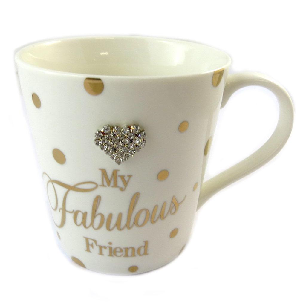 Mug porcelaine \'My Fabulous Friend\' beige doré - [P1096]