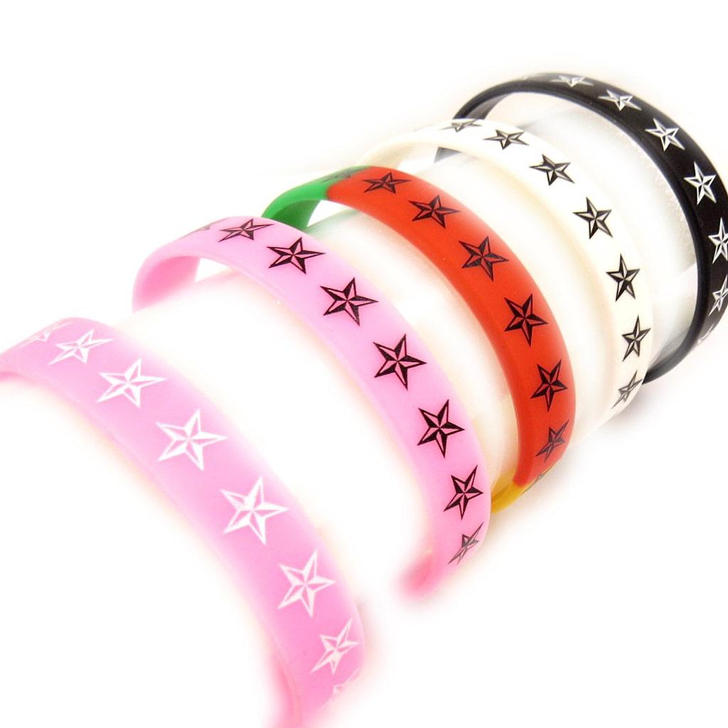 5 bracelets silicone \'Etoiles\' tutti frutti - [K9478]