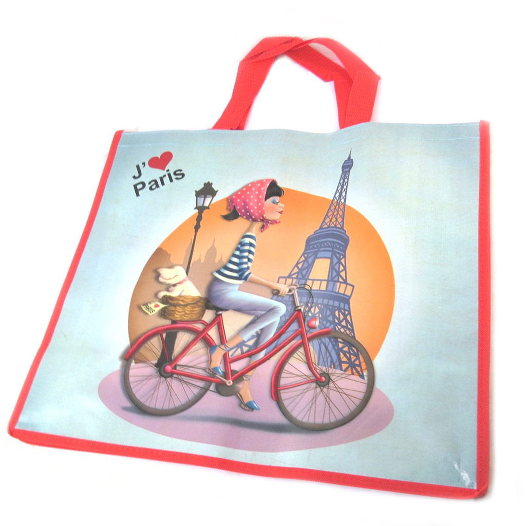 Sac Shopping rétro \'J\'aime Paris\' bleu petits pois - 46x40x19 cm - [P1114]