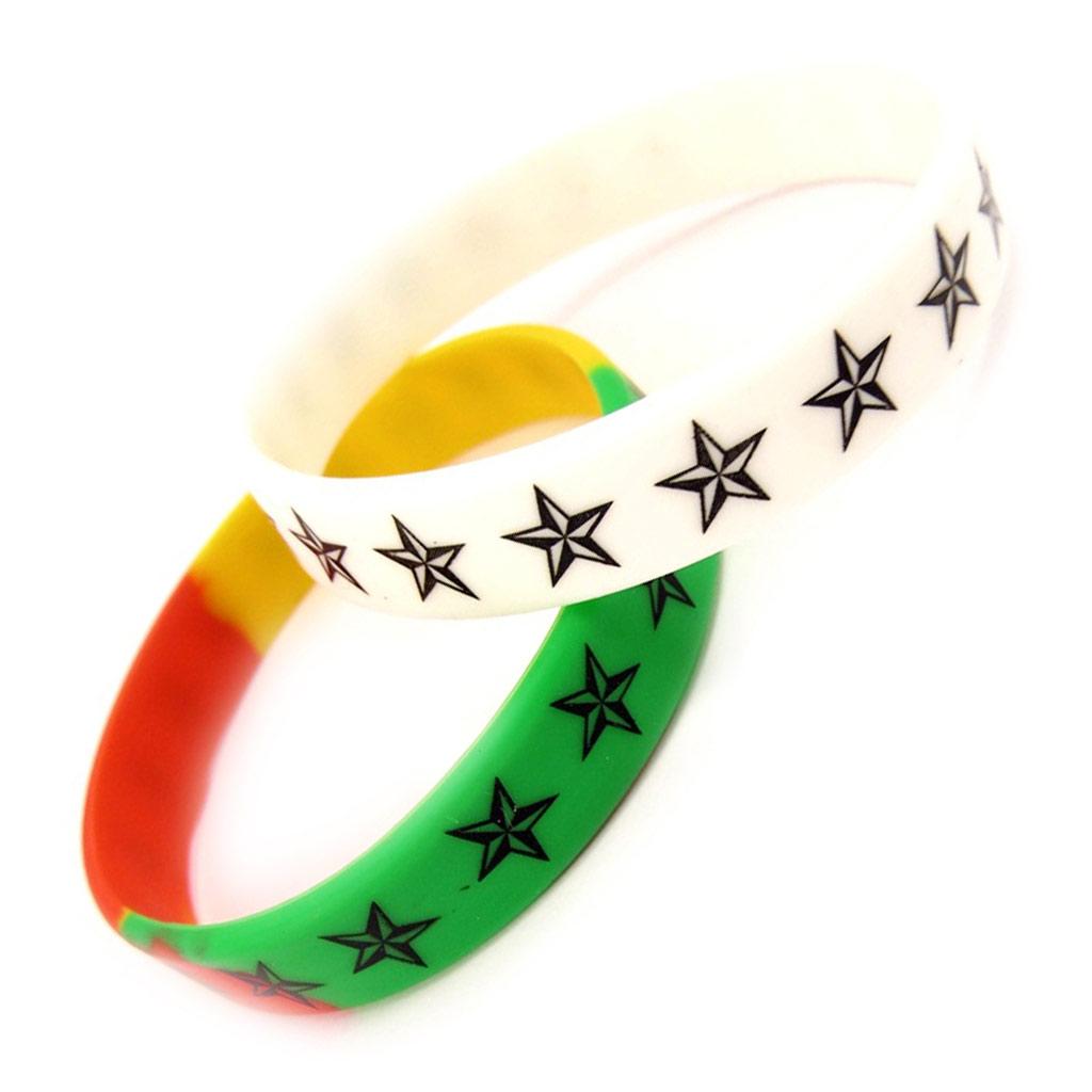 2 bracelets silicone \'Etoiles\' tutti frutti - [K9481]