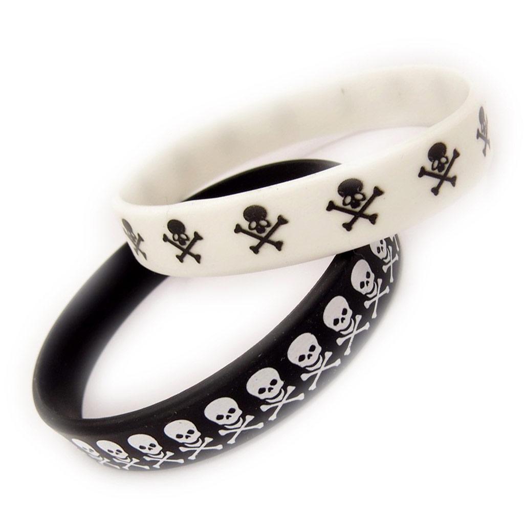 2 bracelets silicone \'Tête de Mort\' noir blanc - [K9483]