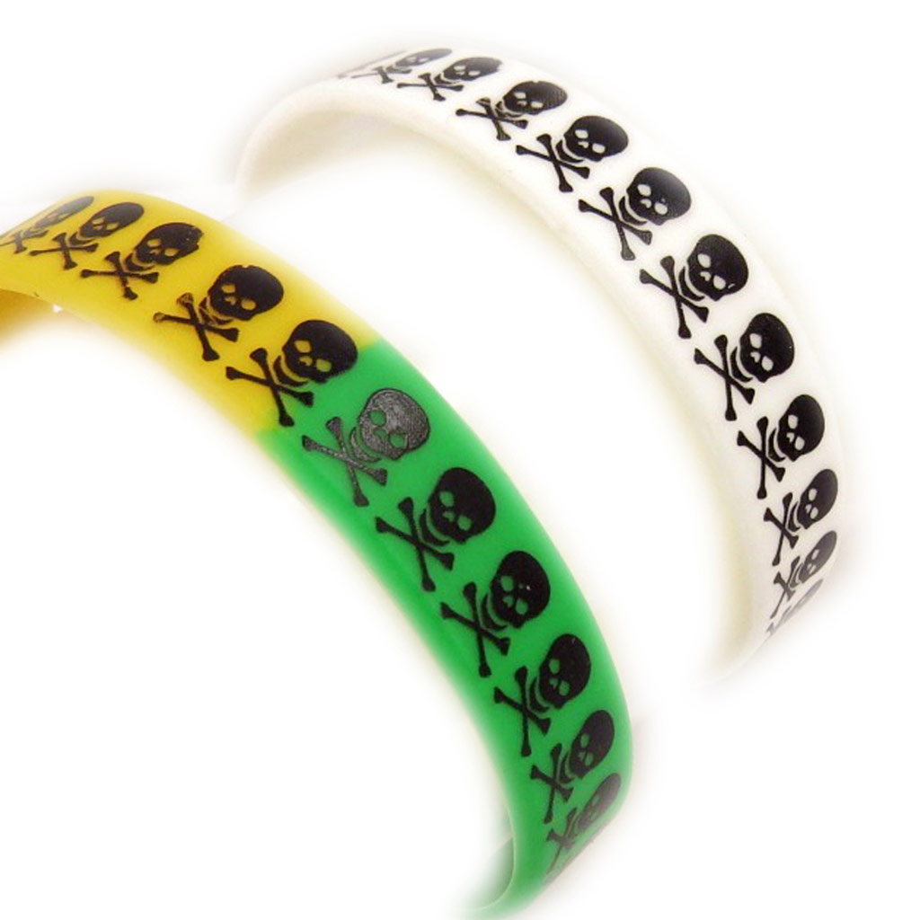 2 bracelets silicone \'Tête de Mort\' blanc tutti frutti - [K9484]
