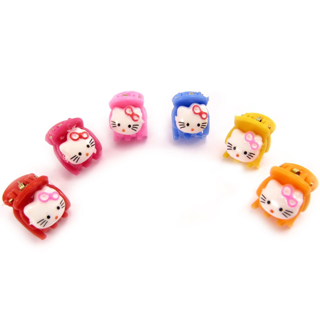 6 mini-pinces \'Hello Kitty\' tutti frutti - [K9488]