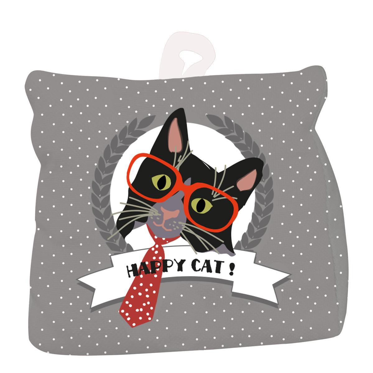 Cale porte coton \'Happy Cat\' gris (cravate) - 18x18 cm - [Q4016]