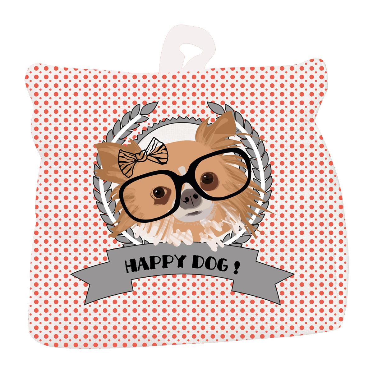 Cale porte coton \'Happy Dog\' rose  (Chihuahua) - 18x18 cm - [Q4018]