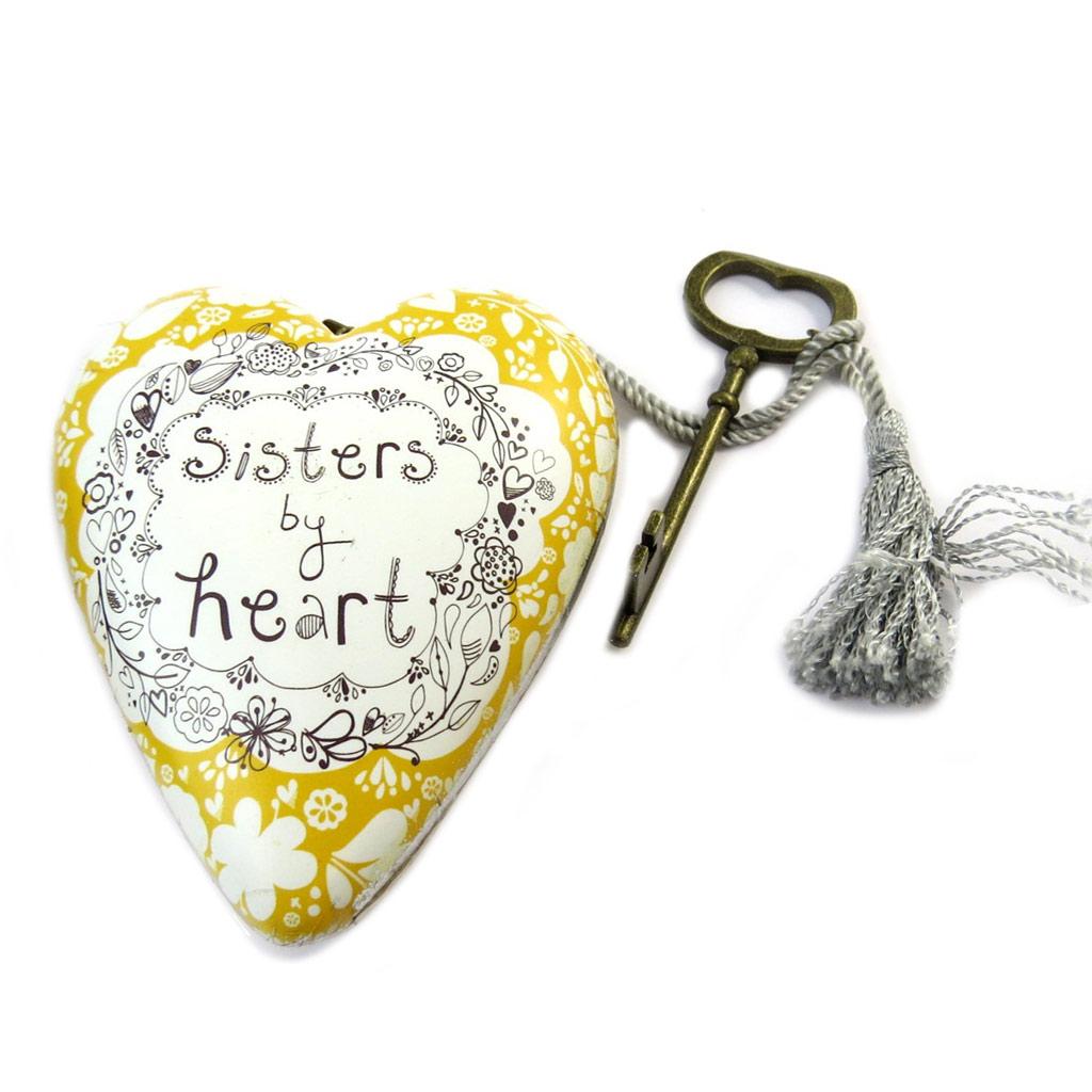 Objet de décoration \'Art Hearts\' blanc doré (Sisters by heart) - 10x85x35 cm - [P1141]