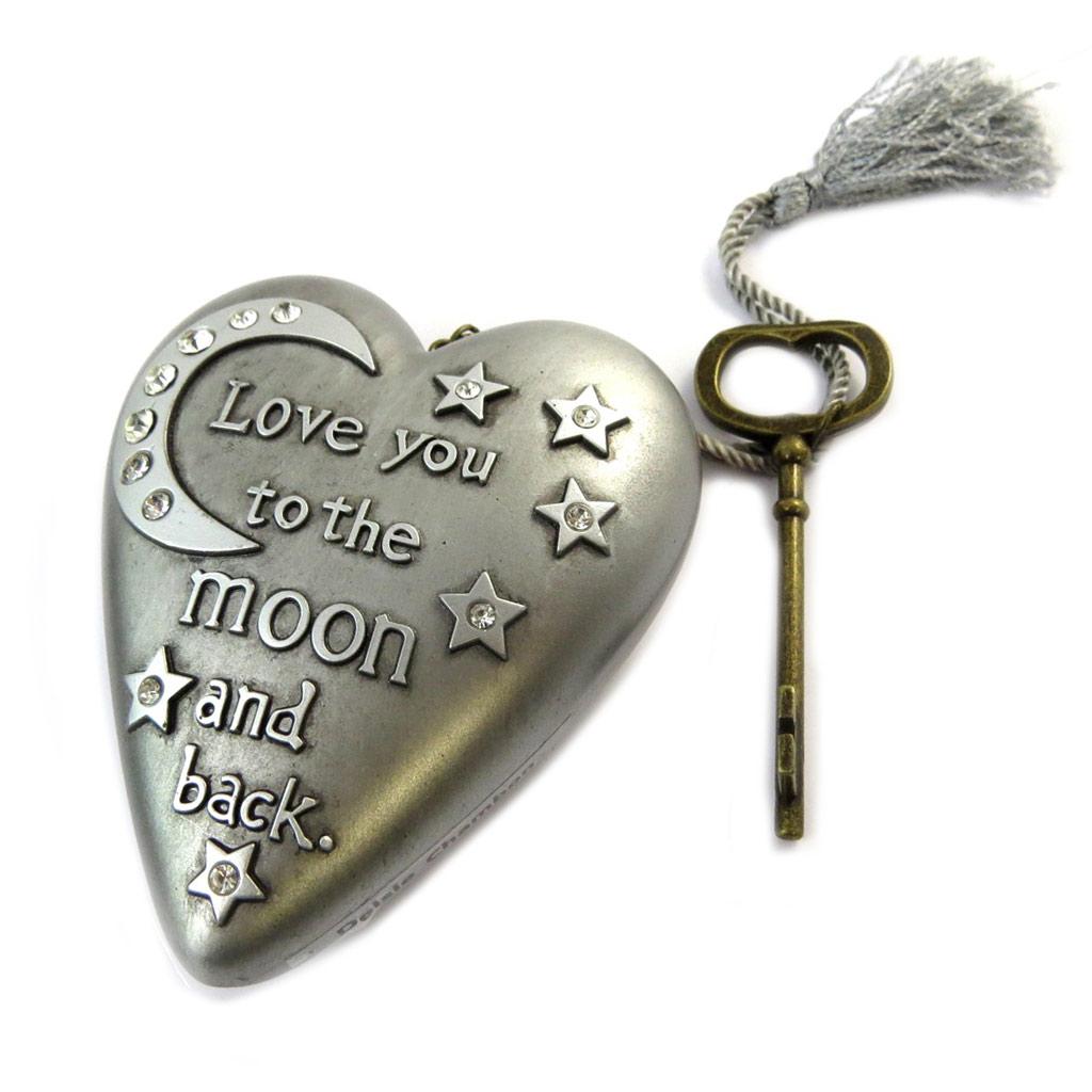 Objet de décoration \'Art Hearts\' gris argenté (Love you to the moon and back) - 10x85x35 cm - [P1143]
