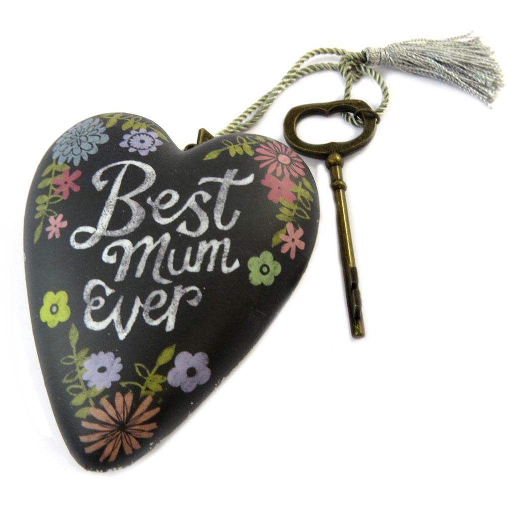 Objet de décoration \'Art Hearts\' noir multicolore (Best Mum Ever) - 10x85x35 cm - [P1145]