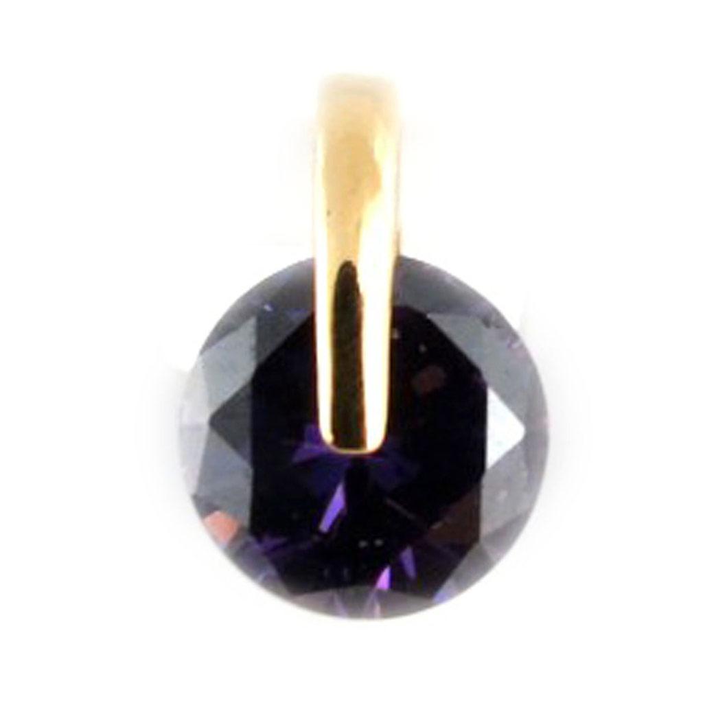 Pendentif Plaqué Or \'Cristal\' améthyste doré - 8 mm - [K9529]