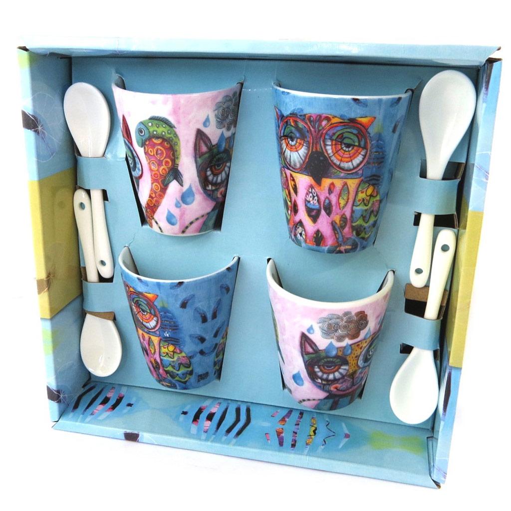 Coffret porcelaine (4 tasses à café + cuillères) \'Allen Designs\' chat chouette - [P1150]