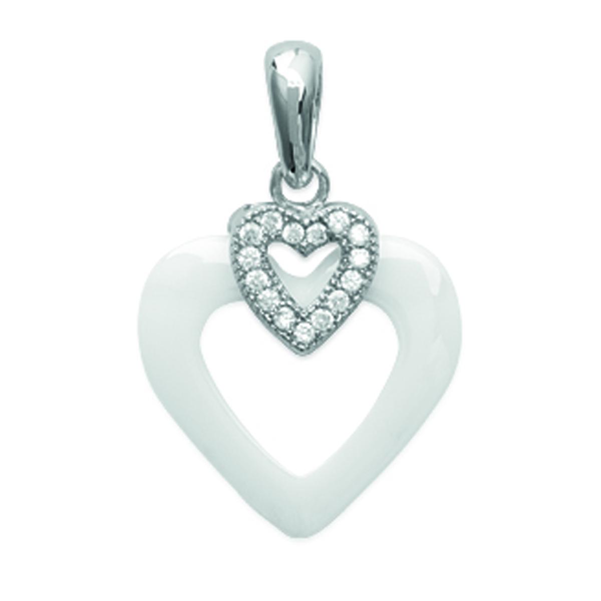 Pendentif Argent \'Love\' blanc (céramique) rhodié - 15x14 mm - [L5009]