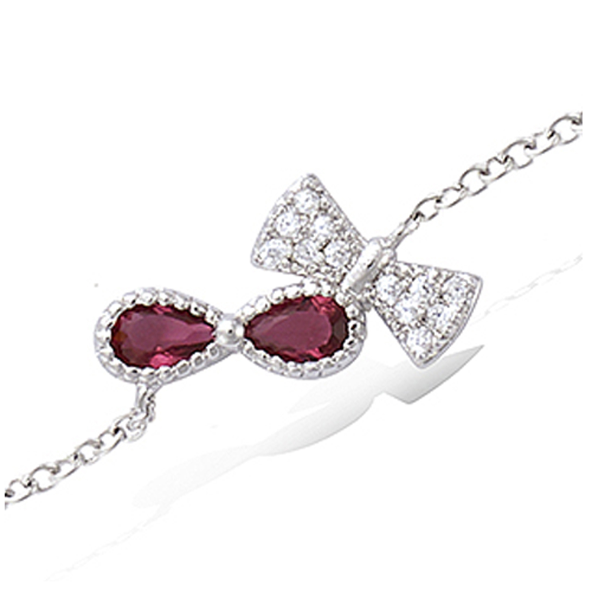 Bracelet Argent \'Noeud Romantique\' rubis blanc (rhodié) - 17x10 mm - [P1262]