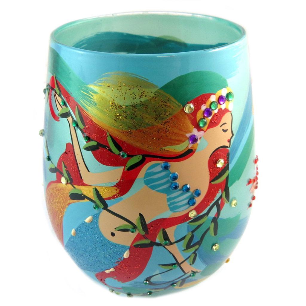 Les Trésors De Lily [P1364] - Verre à vin créateur \'21\' vert multicolore (Mermaid Sirène) - 10 cm… - [P1364]