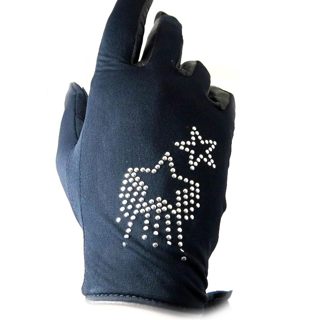 Gants créateur \'Stars\' strass noir - [L5392]