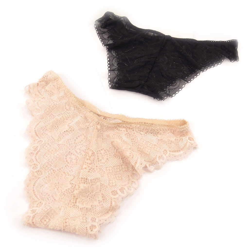 2 tangas \'Scarlett\' noir beige (dentelle) Taille L - [K9986]