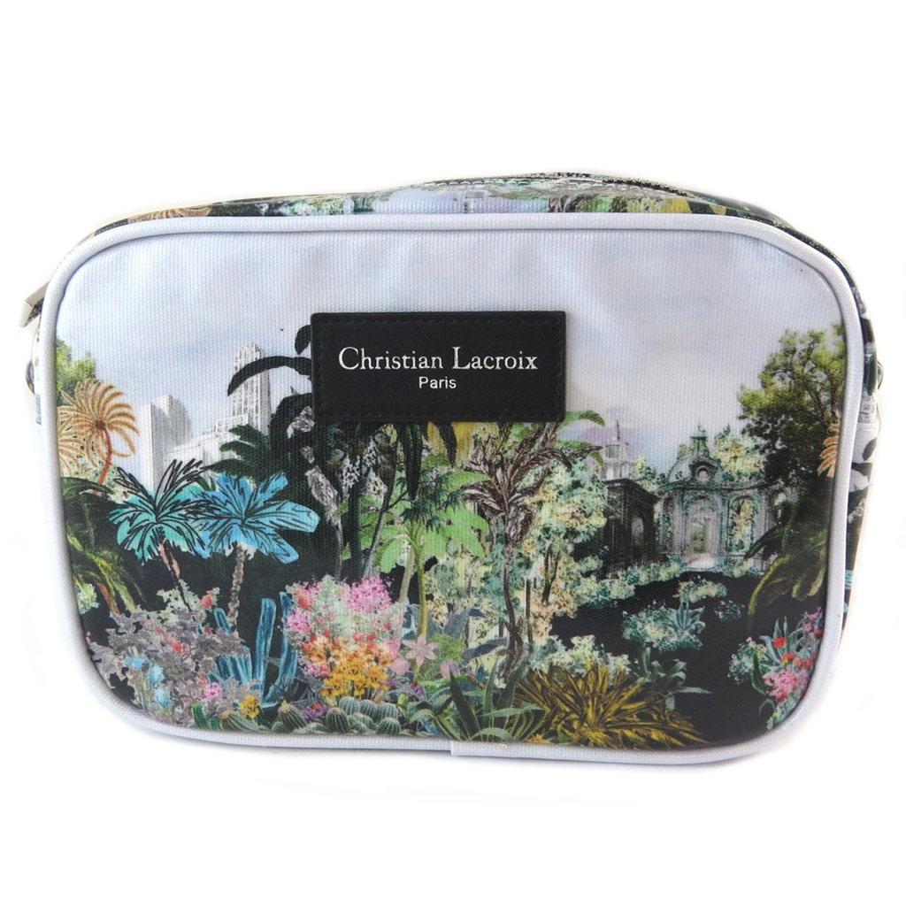 Christian Lacroix [P1385] - Sac pochette créateur \'Christian Lacroix\' blanc multicolore (tropical) - 23x16x6 5 cm… - [P1385]