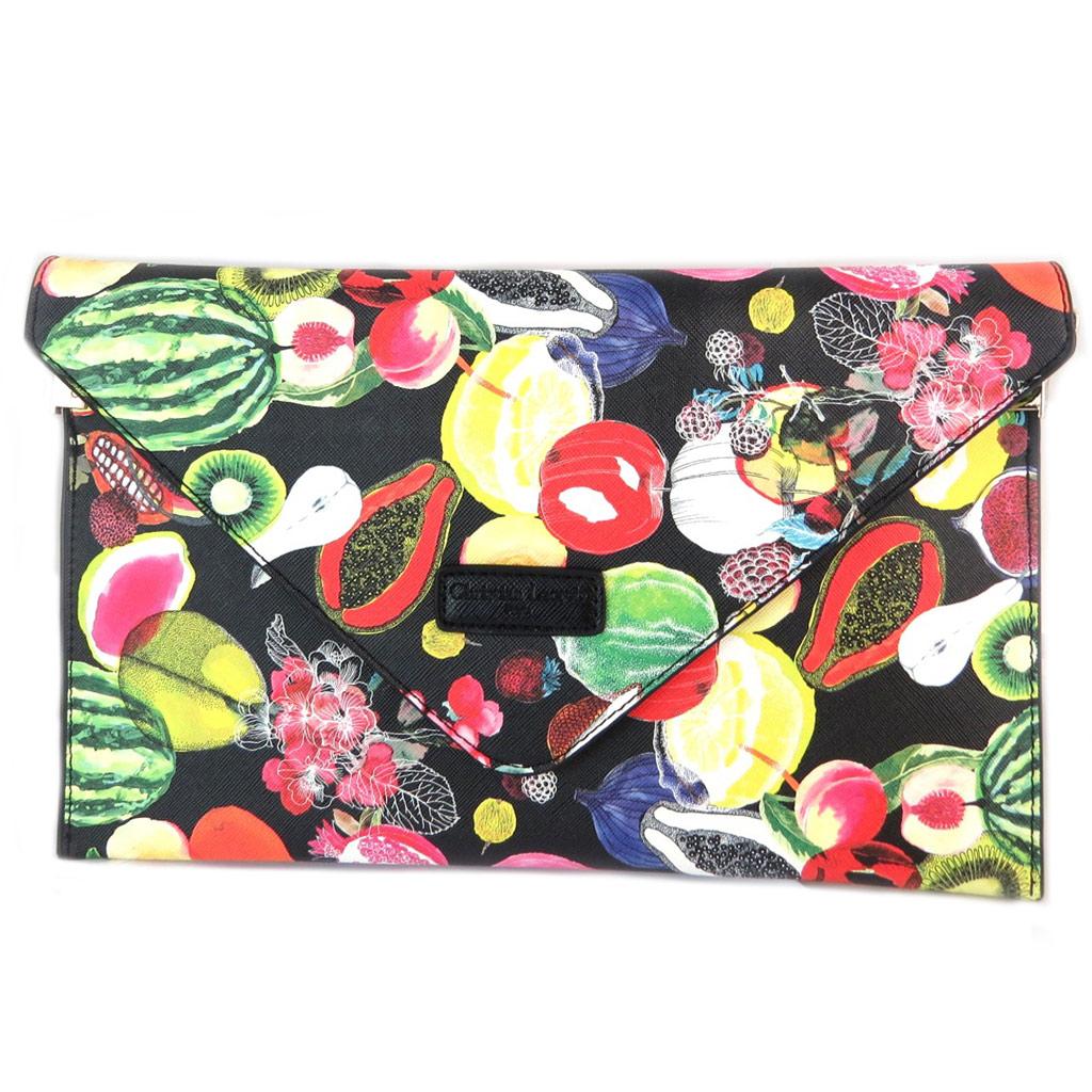 Christian Lacroix [P1387] - Sac créateur / pochette enveloppe \'Christian Lacroix\' noir multicolore (fruits) - 31x19x3 cm… - [P1387]
