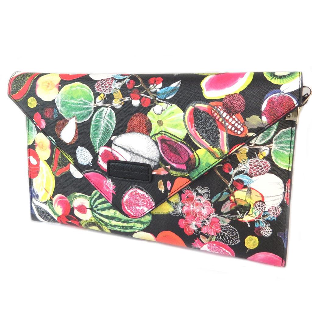 Christian Lacroix [P1388] - Sac créateur / pochette enveloppe \'Christian Lacroix\' noir multicolore (fruits) - 31x19x3 cm… - [P1388]