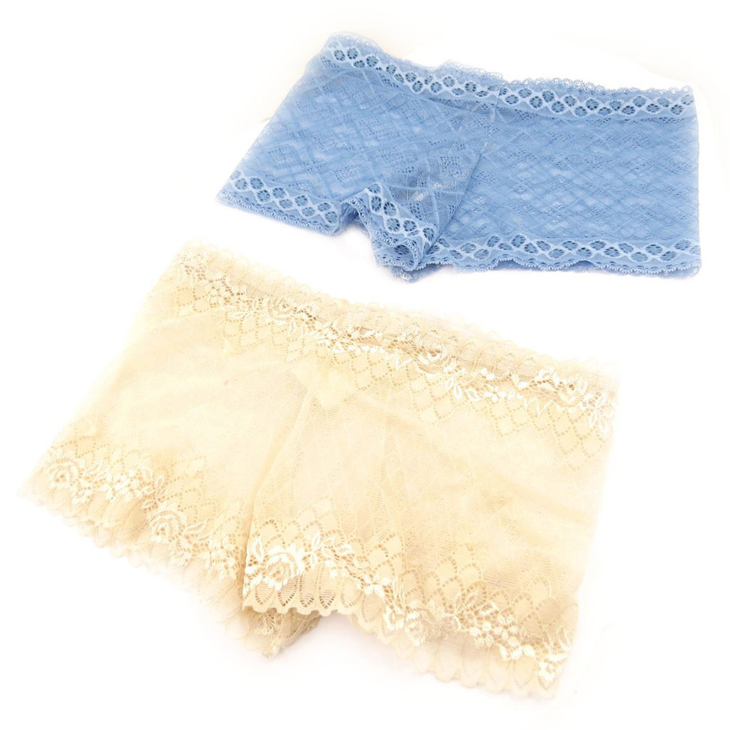 2 boxers \'Scarlett\' beige bleu (dentelle) - [L0019]