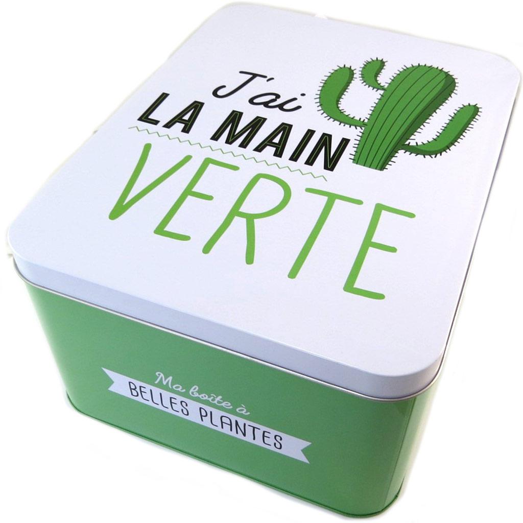 Boite métal \'J\'ai la main Verte\' vert blanc - 31x24x15 cm - [P1433]
