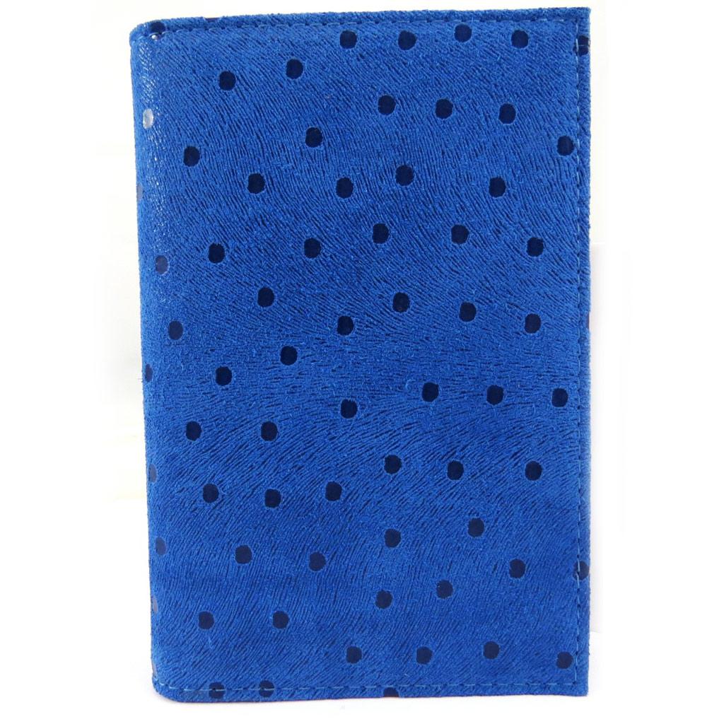 Porte Papiers de voiture Cuir \'Frandi\' bleu (petits pois) - [L5443]