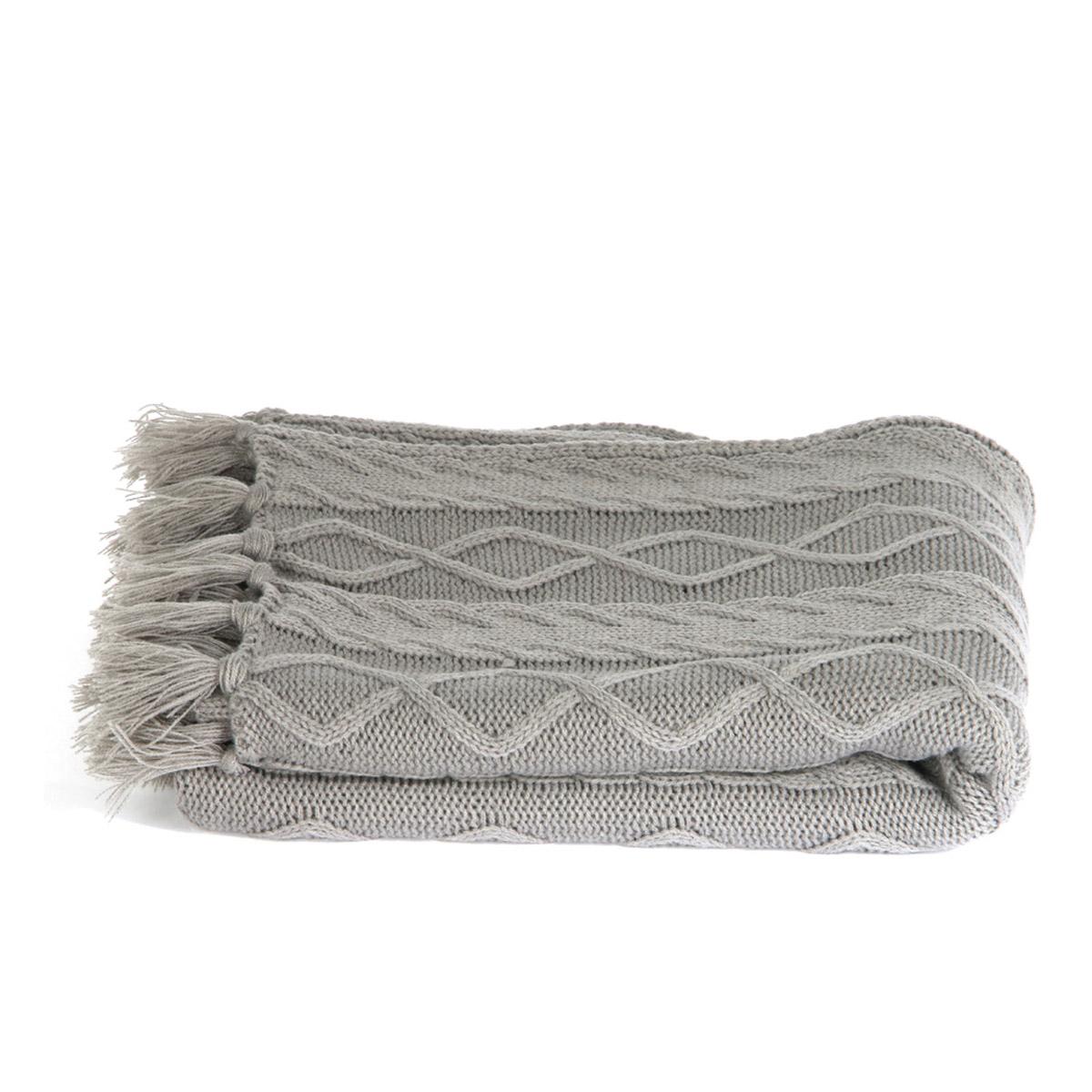 Plaid créateur \'Boho\' gris (tricot) - 120x150 cm - [R2428]