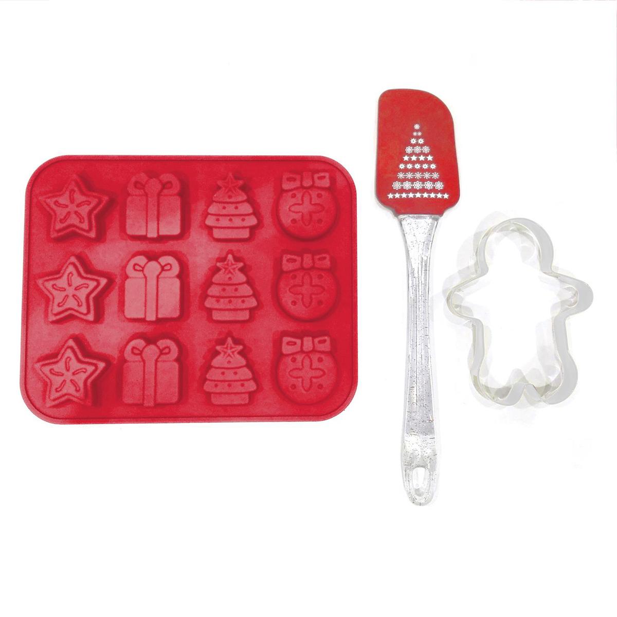 Set 12 moules silicone \'Joyeux Noël\' rouge (+spatule + emporte-pièces)  - [Q3215]