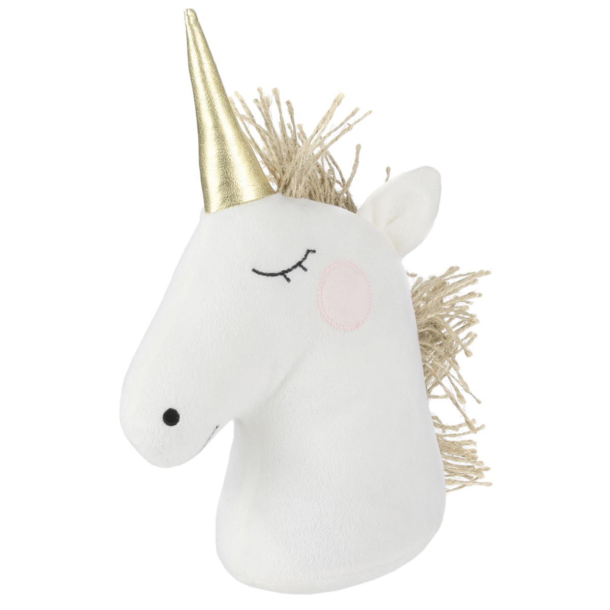 Peluche Cale porte \'Licorne My Unicorn\' blanc doré - 255x19x11 cm - [Q3218]