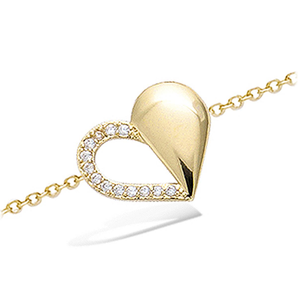 Bracelet Plaqué or \'Love\' blanc doré - 16x14 mm - [N6849]