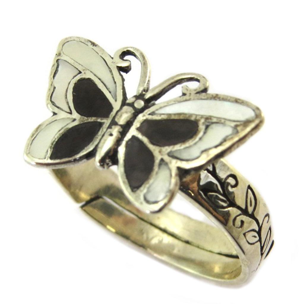 Bague Argent \'Papillon des Songes\' noir blanc nacré - [P2538]