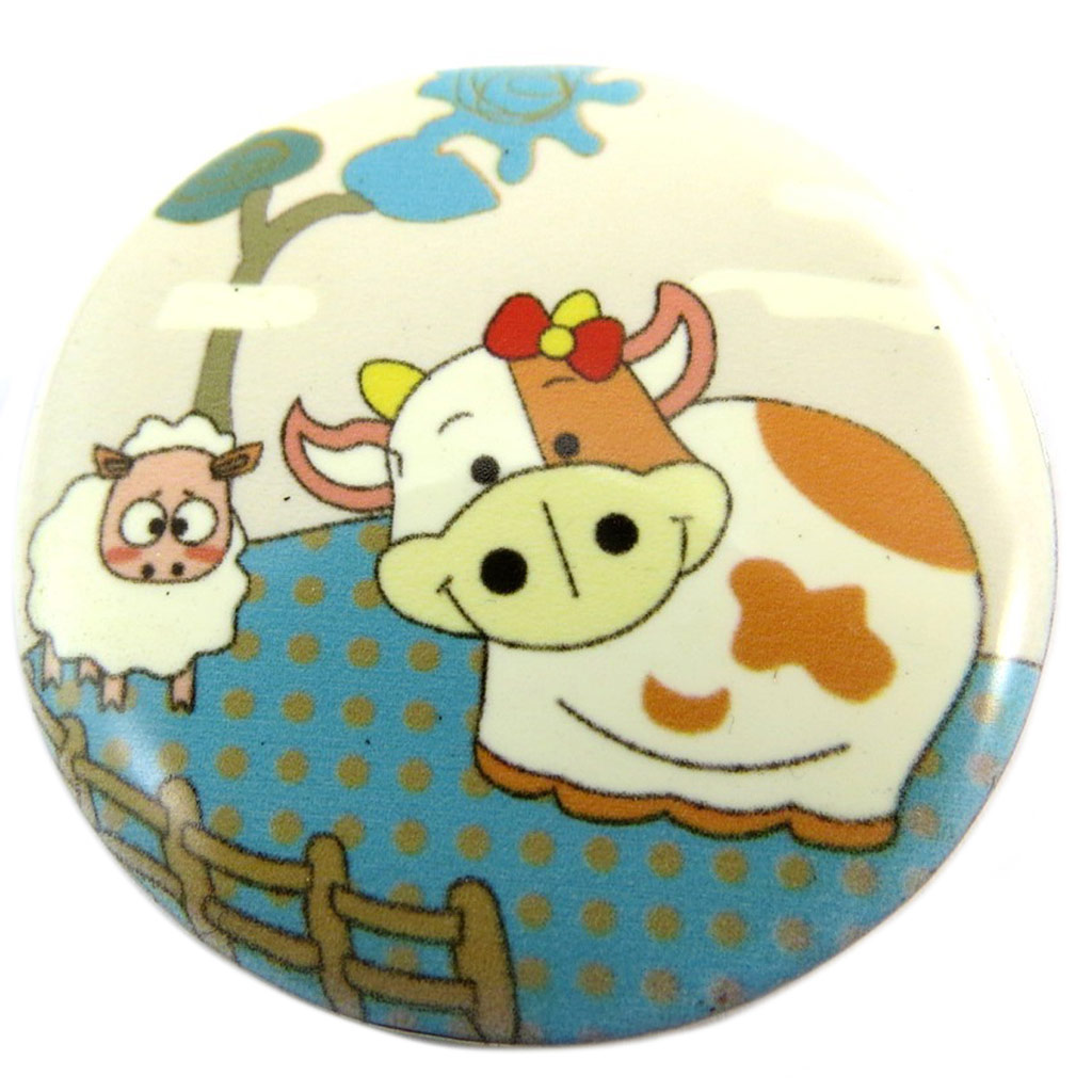 Broche créateur \'Lilipoupettes\' (mouton vache) turquoise beige - 40 mm - [P7417]