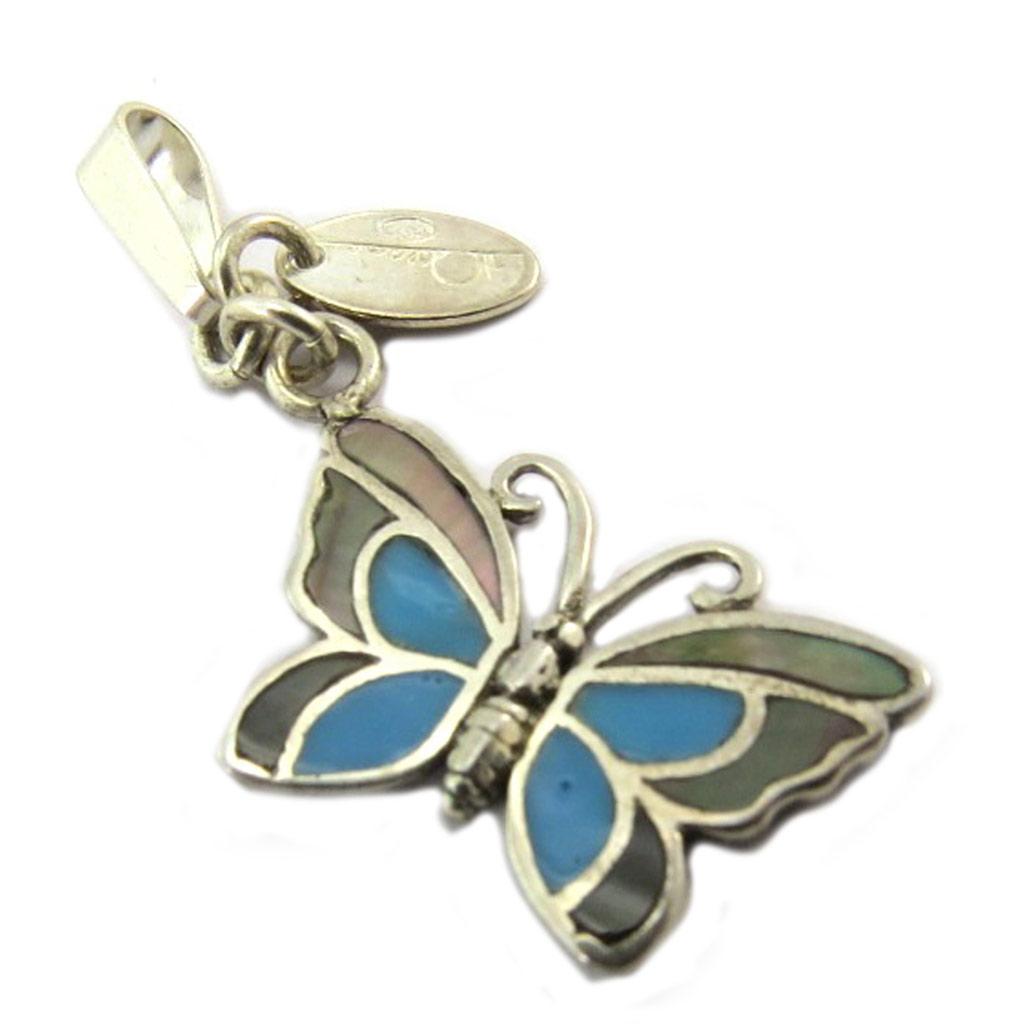 Pendentif Charm \'Papillon des Songes\' bleu gris nacré - [P2540]