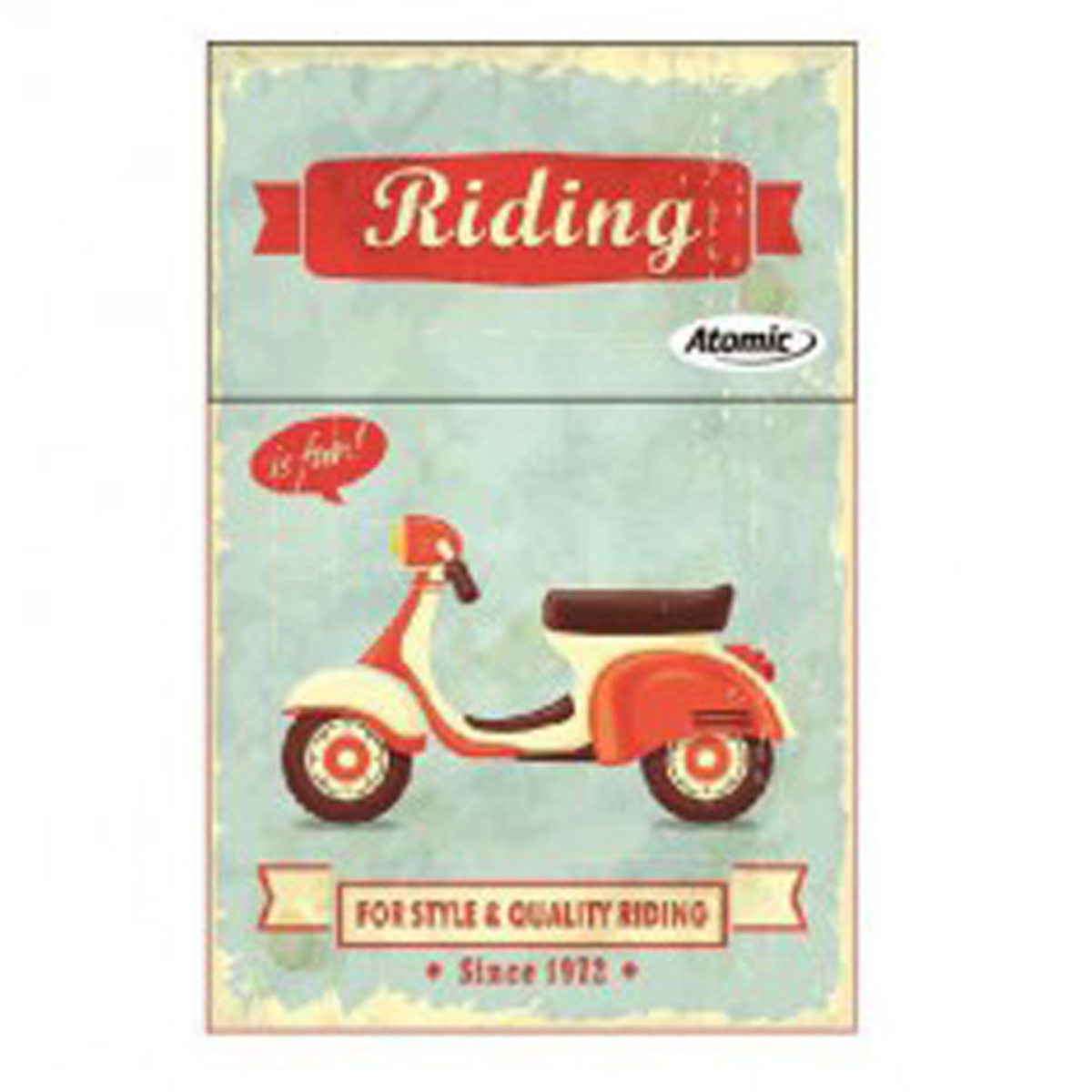 Etui à paquet de cigarettes \'Scooter Rétro\' bleu rouge (Riding is fun) - 85x5 cm - [Q3226]