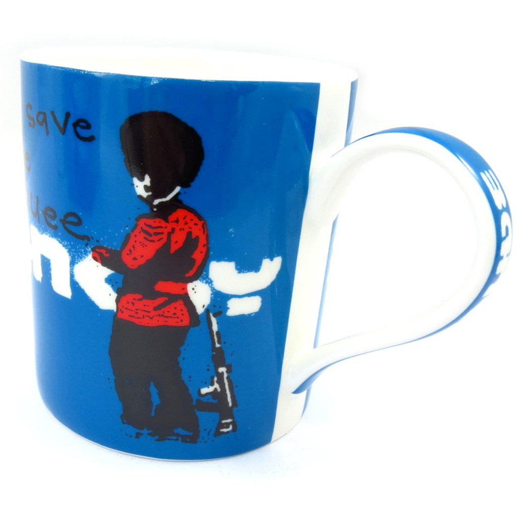 Mug porcelaine \'Banksy\' bleu (God save the Quee) - 90x85 mm - [K3516]