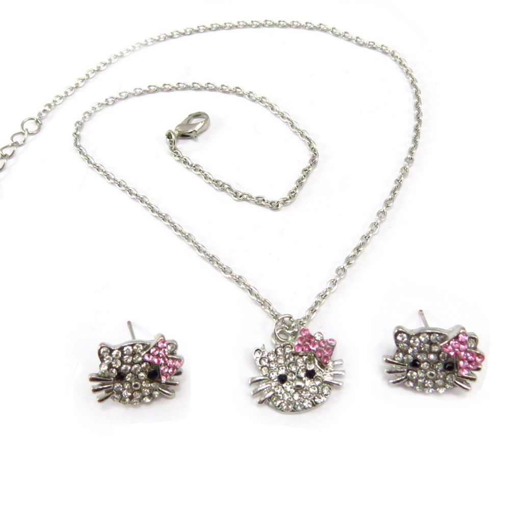 Parure \'Hello Kitty\' blanc rose (collier + boucles) - [K6561]