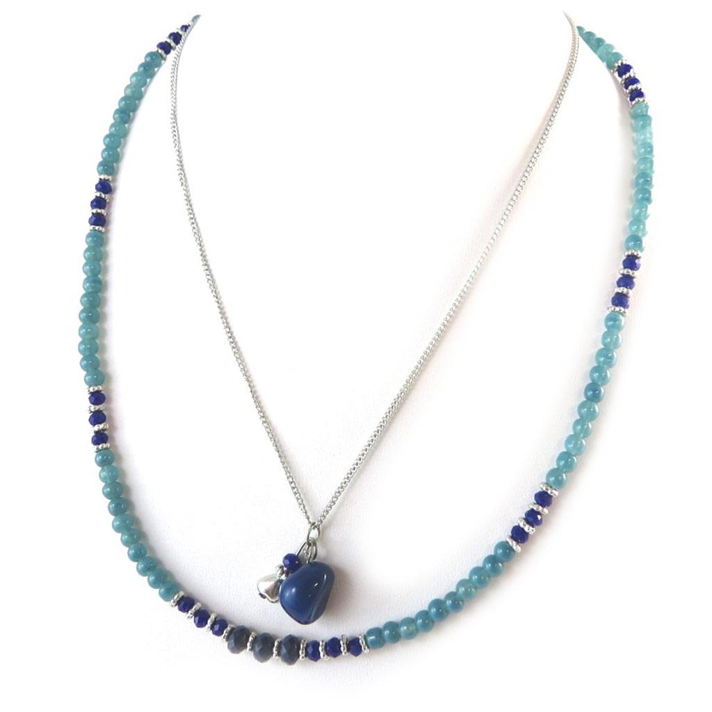 Collier \'Minéralia\' bleu - [N8803]