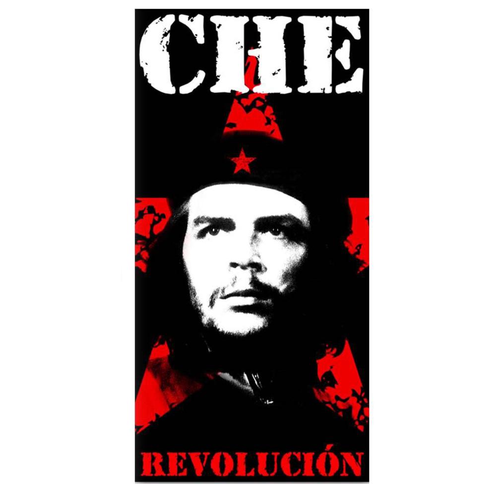 Drap de plage \'Che Guevara\' noir rouge - 76x152 cm - [Q3238]