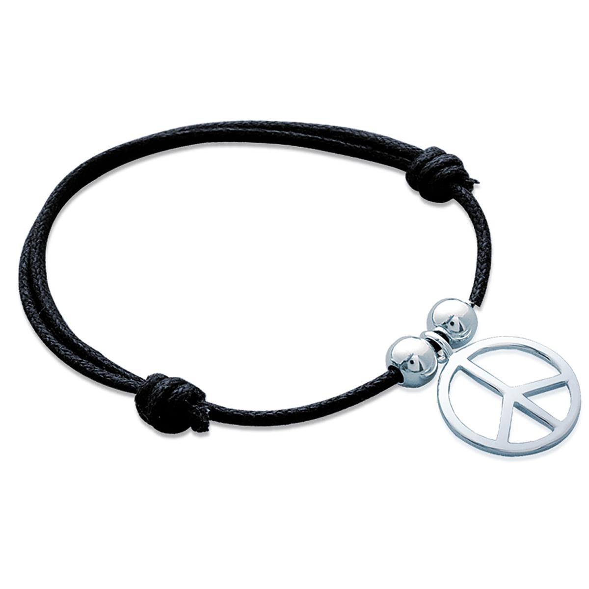 Bracelet Argent \'Peace\' argenté - 15 mm - [G1261]