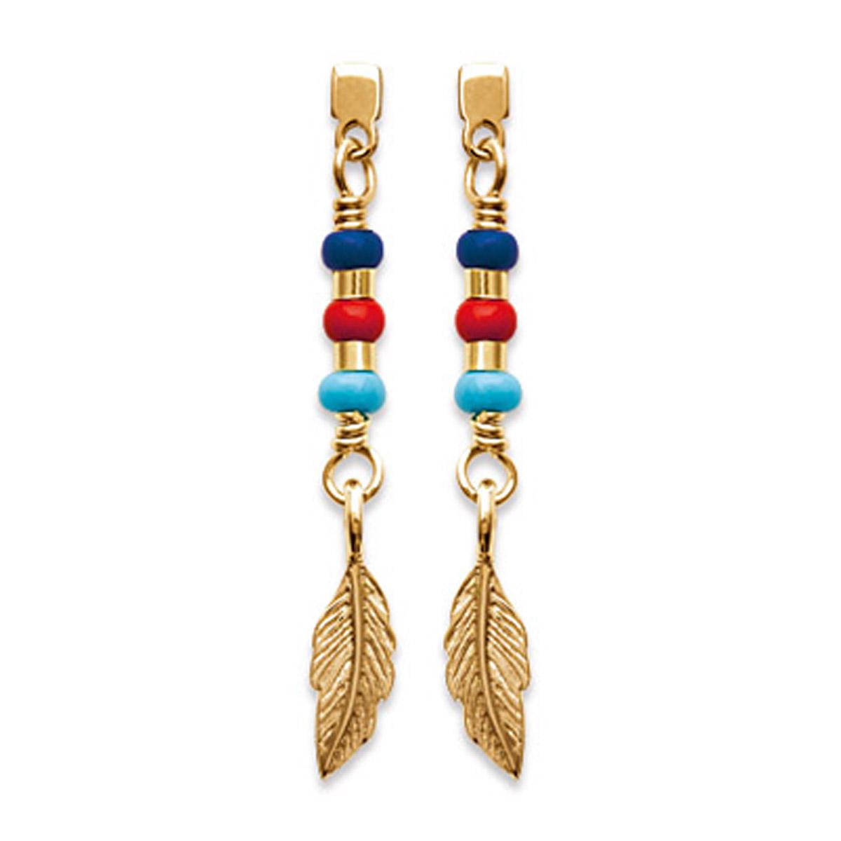 Boucles \'Navajos\' doré multicolore (plumes) - 30x4 mm - [P4382]