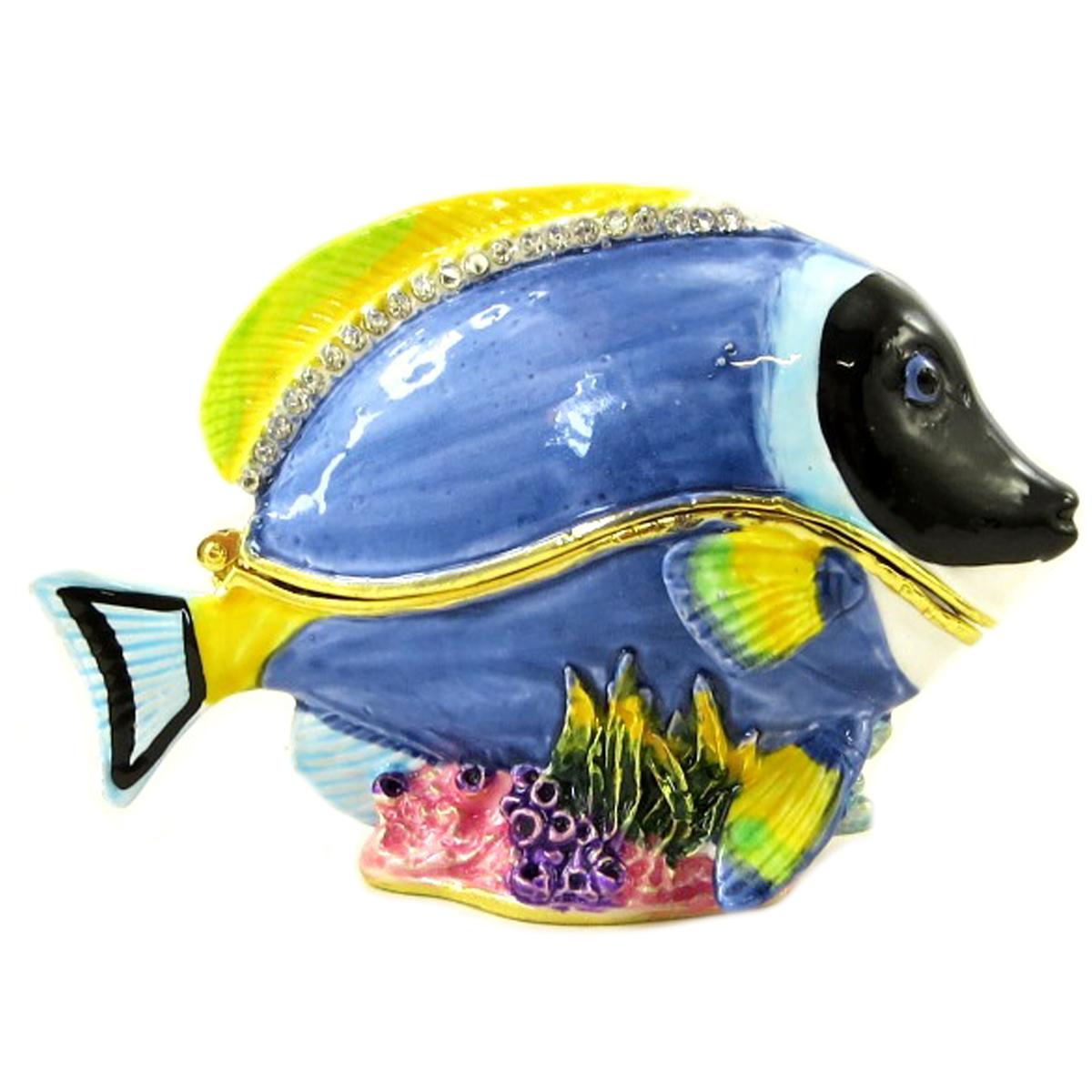 Coffret à Bijoux \'Blue Tang\' bleu (poisson Dory) - 80x55x35 mm - [P9434]