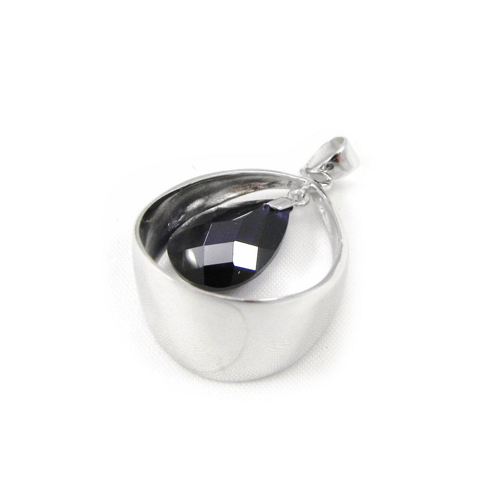Pendentif Argent \'Linda\' Améthyste argenté (rhodié) - 20x25 mm - [G8782]
