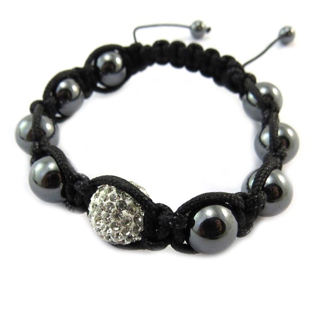 Bracelet ethnique \'Shambhala\' blanc gris - [P2572]