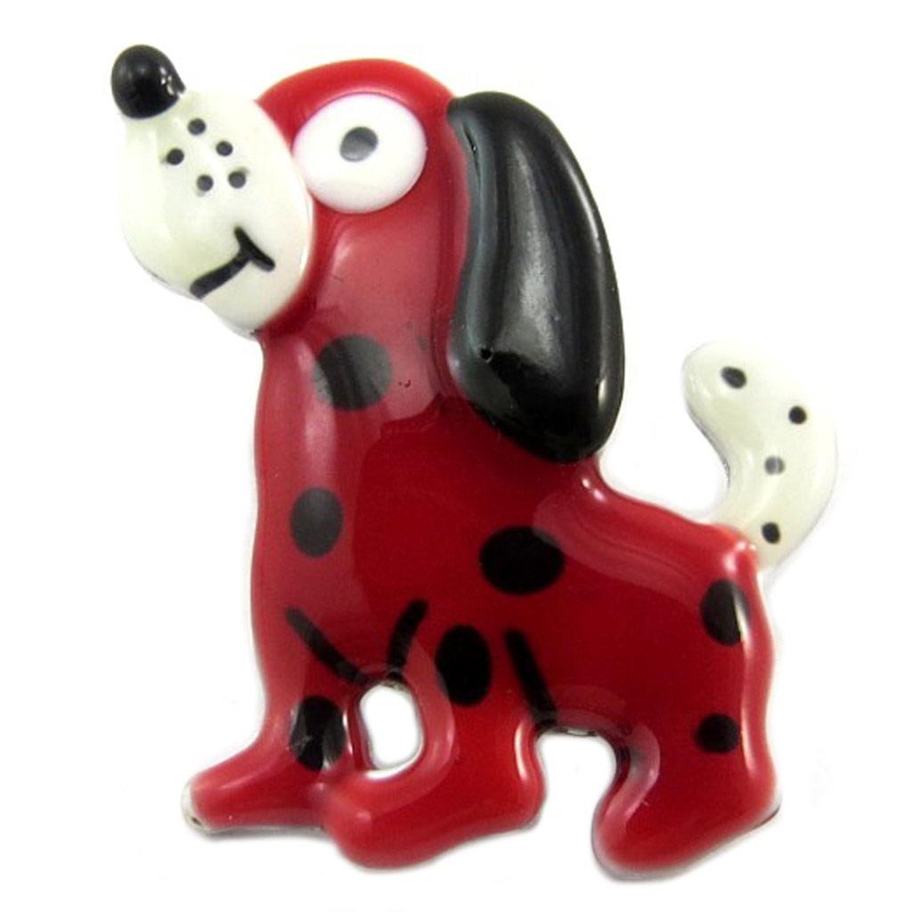 Broche pin\'s créateur \'Lilipoupettes\' (chien) rouge noir - 30x25 mm - [P7444]