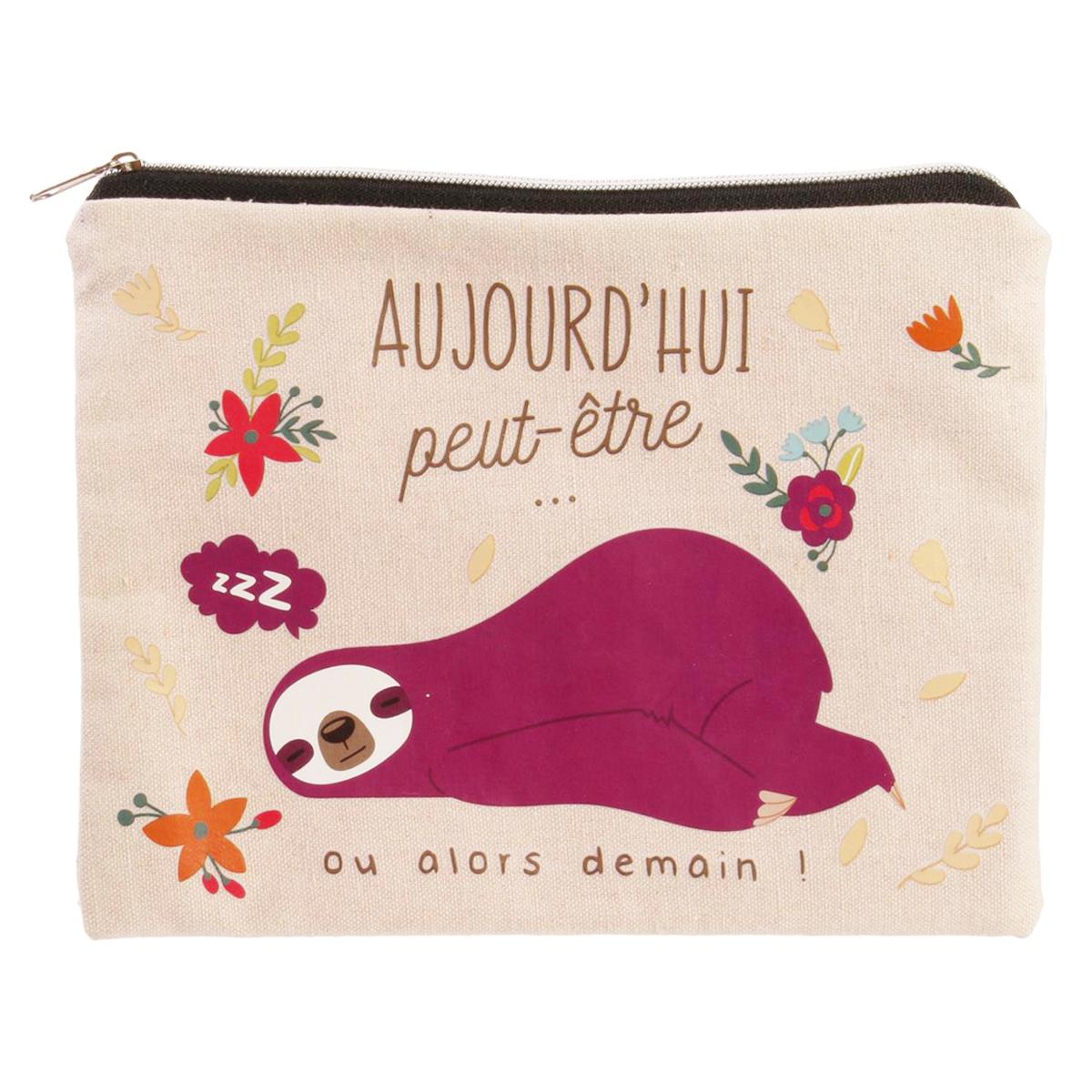 Pochette plate / Trousse à maquillage \'Paresseux\' violet (Aujourd\'hui peut-être ou alors demain !) - 19x135 cm - [Q3257]