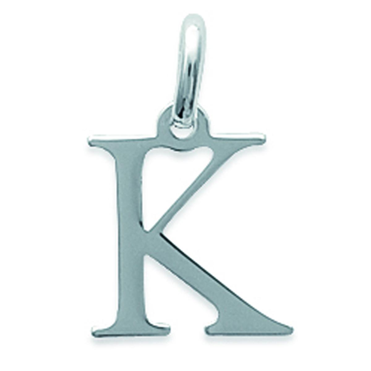 Pendentif Argent \'Lettre K\' argenté - 12x11 mm - [K3645]