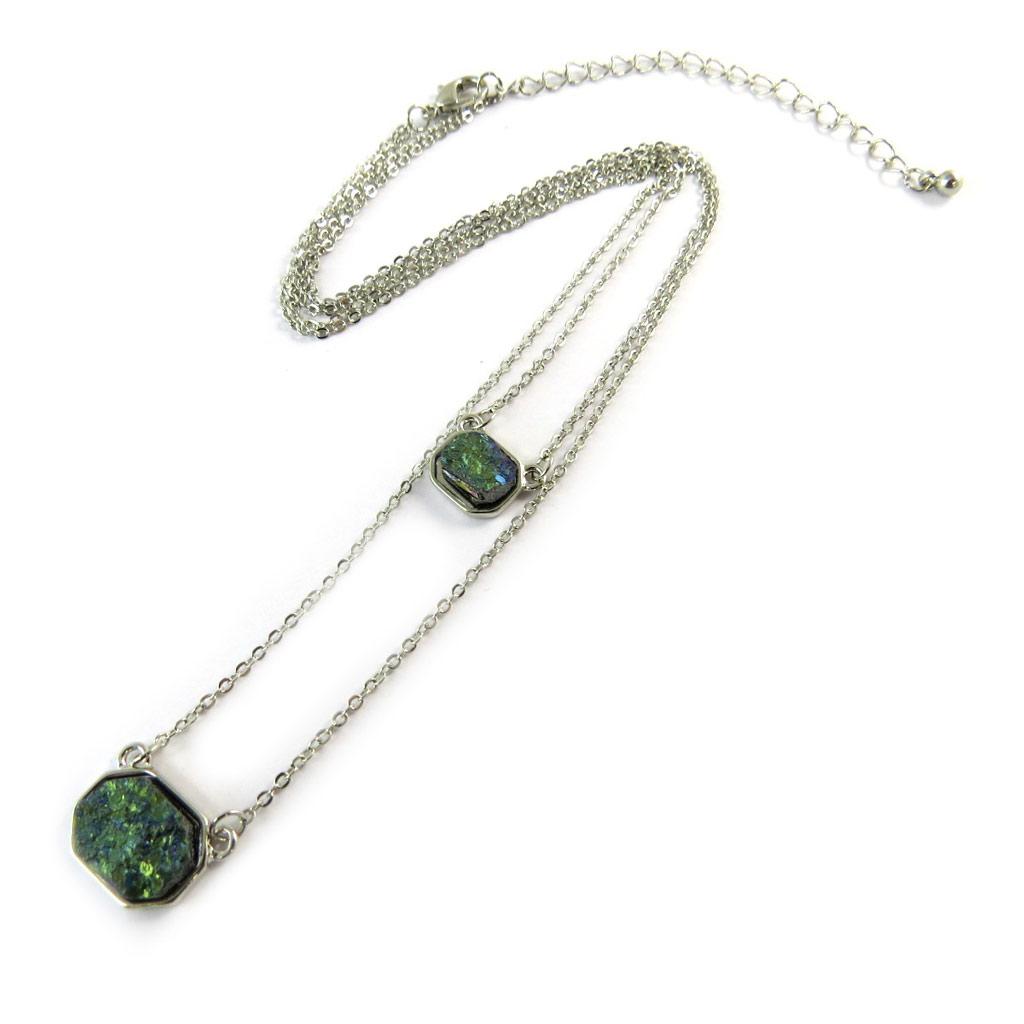 Collier \'Minéralia\' vert argenté - [N8820]
